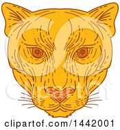 Clipart Of A Mono Line Styled Cougar Puma Mountain Lion Face Royalty Free Vector Illustration by patrimonio