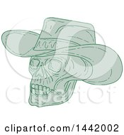 Clipart Of A Sketched Green Cowboy Skull Royalty Free Vector Illustration