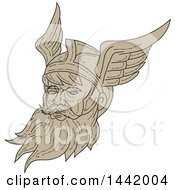 Clipart Of A Sketched Face Of Odin With A Beard And Helmet Royalty Free Vector Illustration by patrimonio