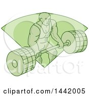 Poster, Art Print Of Mono Line Styled Green Male Bodybuilder Lifting A Heavy Barbell