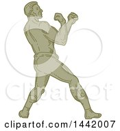 Clipart Of A Mono Line Styled Male Boxer Ready To Fight Royalty Free Vector Illustration