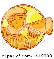 Clipart Of A Mono Line Styled Movie Director Or Carnival Barker Using A Megaphone Royalty Free Vector Illustration by patrimonio
