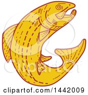 Clipart Of A Mono Line Styled Leaping Rainbow Trout Fish Royalty Free Vector Illustration