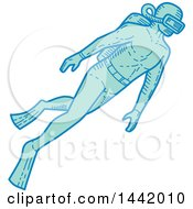 Clipart Of A Mono Line Styled Scuba Diver Swimming Royalty Free Vector Illustration