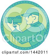 Clipart Of A Mono Line Styled Male Police Officer Using A Speed Radar Camera Royalty Free Vector Illustration