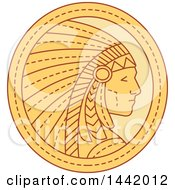 Clipart Of A Mono Line Styled Native American Indian Chief Wearing A Feather Headdress In A Circle Royalty Free Vector Illustration by patrimonio