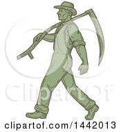 Mono Line Styled Green Male Farmer Walking With A Scythe Over His Shoulder