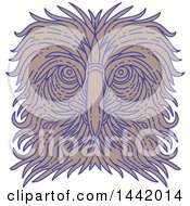 Clipart Of A Mono Line Styled Great Philippine Or Monkey Eating Eagle Face Royalty Free Vector Illustration