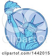 Poster, Art Print Of Mono Line Styled Statue Of Liberty Holding A Torch In A Circle