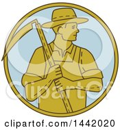Mono Line Styled Farmer Holding A Scythe In A Circle