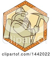 Clipart Of A Mono Line Styled Fireman Holding An Axe Royalty Free Vector Illustration