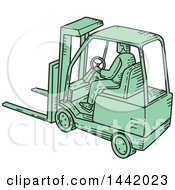 Clipart Of A Mono Line Styled Green Forklift Driver And Machine Royalty Free Vector Illustration by patrimonio