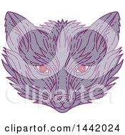 Clipart Of A Mono Line Styled Purple Fox Face Royalty Free Vector Illustration by patrimonio