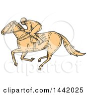 Clipart Of A Mono Line Styled Racing Horse Jockey Royalty Free Vector Illustration