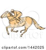 Poster, Art Print Of Mono Line Styled Racing Horse Jockey