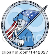 Poster, Art Print Of Mono Line Styled American Revolutionary Soldier With A Flag In A Circle