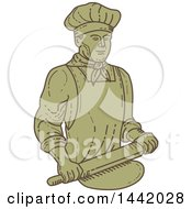 Clipart Of A Mono Line Styled Male Baker Rolling Dough Royalty Free Vector Illustration