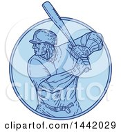 Poster, Art Print Of Mono Line Styled Male Baseball Player Batting In A Circle