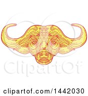 Mono Line Styled African Cape Buffalo Head