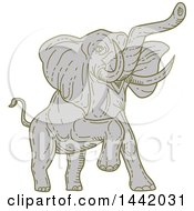 Clipart Of A Mono Line Styled Angry Elephant Royalty Free Vector Illustration