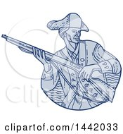 Clipart Of A Mono Line Styled American Patriot Minuteman Soldier Holding A Rifle Royalty Free Vector Illustration
