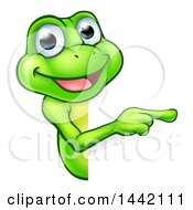 Cartoon Happy Green Frog Mascot Pointing Around A Sign