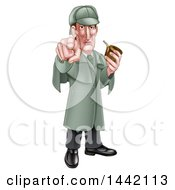 Cartoon Full Length Sherlock Holmes Victorian Detective Holding A Pipe And Pointing Outwards