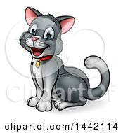Clipart Of A Cartoon Happy Sitting Kitty Cat Royalty Free Vector Illustration by AtStockIllustration