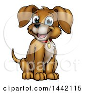 Clipart Of A Cartoon Happy Puppy Dog Sitting Royalty Free Vector Illustration