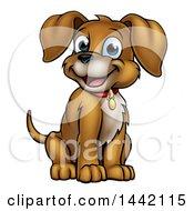 Cartoon Happy Puppy Dog Sitting