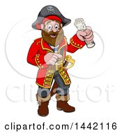 Cartoon Happy Male Pirate Captain Holding A Treasure Map And Pointing