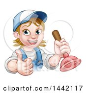 Cartoon Happy White Female Plumber Giving A Thumb Up And Holding A Plunger
