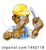 Clipart Of A Cartoon Happy Black Male Electrician Holding A Screwdriver And Pointing Royalty Free Vector Illustration by AtStockIllustration