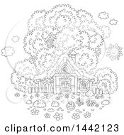 Cartoon Black And White Lineart Cottage With A Tree And Easter Egg Basket