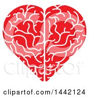 Poster, Art Print Of Red And White Heart Shaped Brain With A White Outline