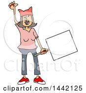 Cartoon Angry White Woman Shouting Wearing A Pink Pussy Hat And Holding A Blank Sign At The Womens March