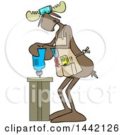 Clipart Of A Cartoon Moose Operating A Power Drill In A Shop Royalty Free Vector Illustration