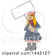 Cartoon Angry White Woman Wearing A Pink Pussy Hat And Holding A Blank Sign At The Womens March