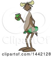 Cartoon Moose Holding A Wine Bottle And Cup