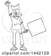 Cartoon Black And White Lineart Angry Woman Shouting Wearing A Pussy Hat And Holding A Blank Sign At The Womens March