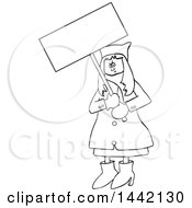 Cartoon Black And White Lineart Angry Woman Wearing A Pussy Hat And Holding A Blank Sign At The Womens March