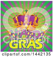 Crown Wand And Mardi Gras Text Over Rays