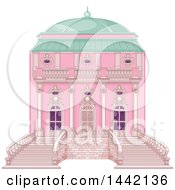 Clipart Of A Pink Palace Exterior Royalty Free Vector Illustration
