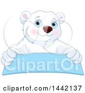 Clipart Of A Cute Polar Bear Over A Blue Banner Sign Royalty Free Vector Illustration