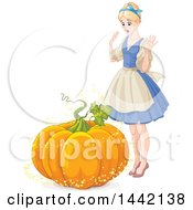 Magical Pumpkin Changing Into A Carriage In Front Of Cinderella