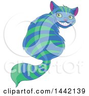 Clipart Of A Grinning Striped Blue And Green Cheshire Cat Looking Back Royalty Free Vector Illustration