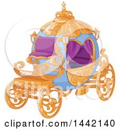 Clipart Of A Fanc Gold Purple And Blue Carriage Royalty Free Vector Illustration
