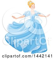 Blond Woman Cinderella Dancing In A Blue Gown