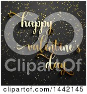 Clipart Of A Golden Happy Valenteines Day Greeting Over Black With Confetti Royalty Free Vector Illustration by KJ Pargeter
