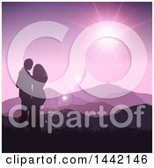 Poster, Art Print Of Silhouetted Valentines Day Couple Embracing Against A Purple Mountainous Sunset